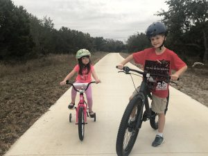 Author's children on their bicycles