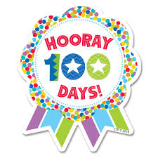 Colorful illustration of an award ribbon that reads: Hooray 100 Days!