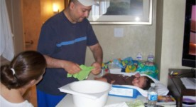 Bathing baby using changing table